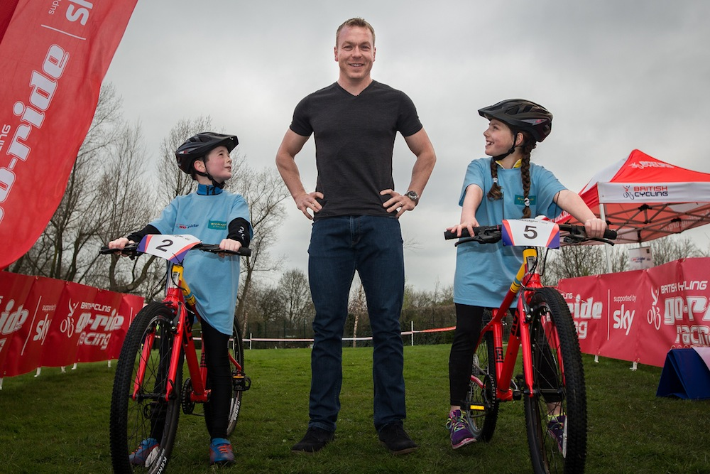 © Joel Goodman - 07973 332324 - all rights reserved . No syndication , onward sale or transfer permitted . 15/04/2015 . Manchester , UK . L-R Riley Simmons (nine) , Sir Chris Hoy and Meadow Whitehead (nine , from Warrington ) . Sir Chris Hoy and Jess Varnish campaigning with Go-Ride and Evans Cycles to encourage more youngsters to take up cycling . Photo credit : Joel Goodman